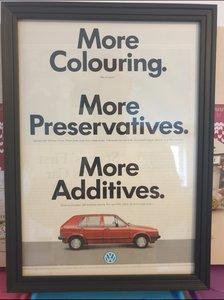 VW Golf MK2 Framed Advert Original