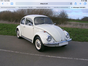 Vw beetle.1300cc white. historic vehicle