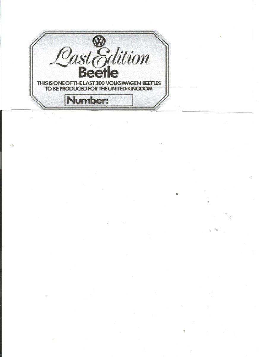 1978 VW Beetle Last Edition plaque wanted Wanted (picture 1 of 1)