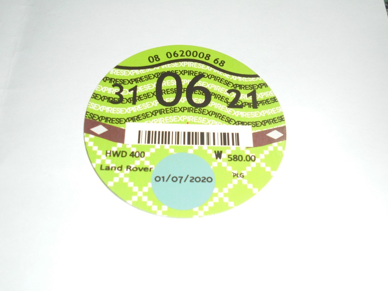 Road Tax Disc 2021. For Sale (picture 1 of 2)