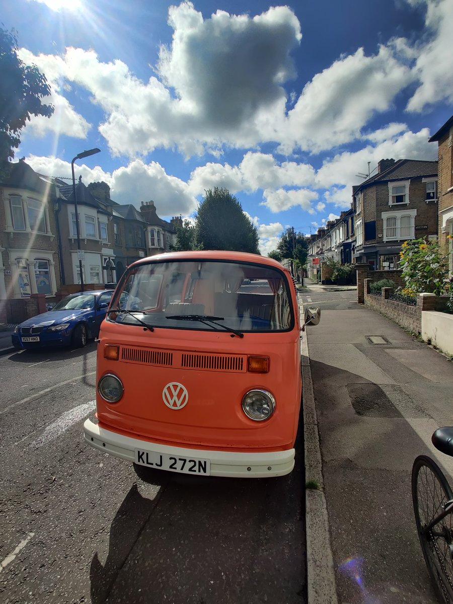 1975 T2 Orange VW camper, low mileage For Sale (picture 1 of 6)