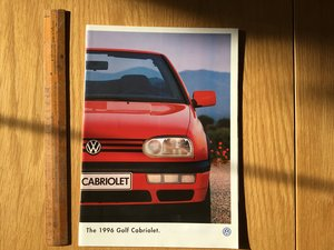 Golf Cabriolet brochure 1996 For Sale