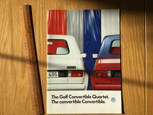 Volkswagen Golf convertible brochure 1986 For Sale