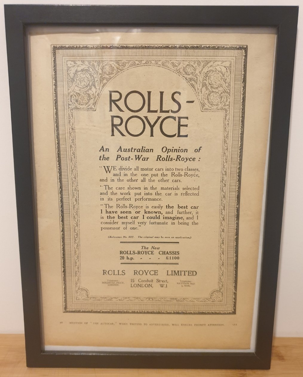 1989 Original 1922 Rolls-Royce Framed Advert  For Sale (picture 1 of 3)