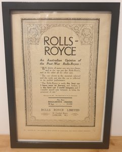 Picture of 1989 Original 1922 Rolls-Royce Framed Advert