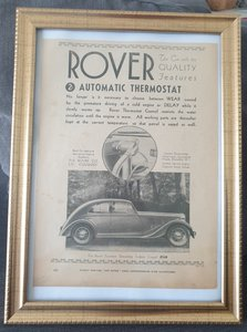 Original 1934 Rover Fourteen Framed Advert