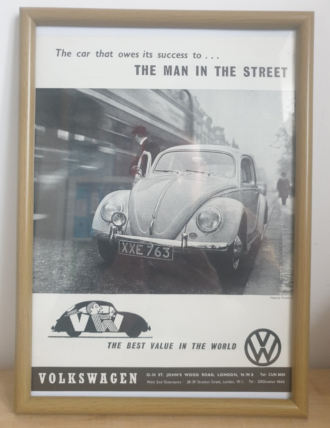 Original 1960 VW Beetle Framed Advert