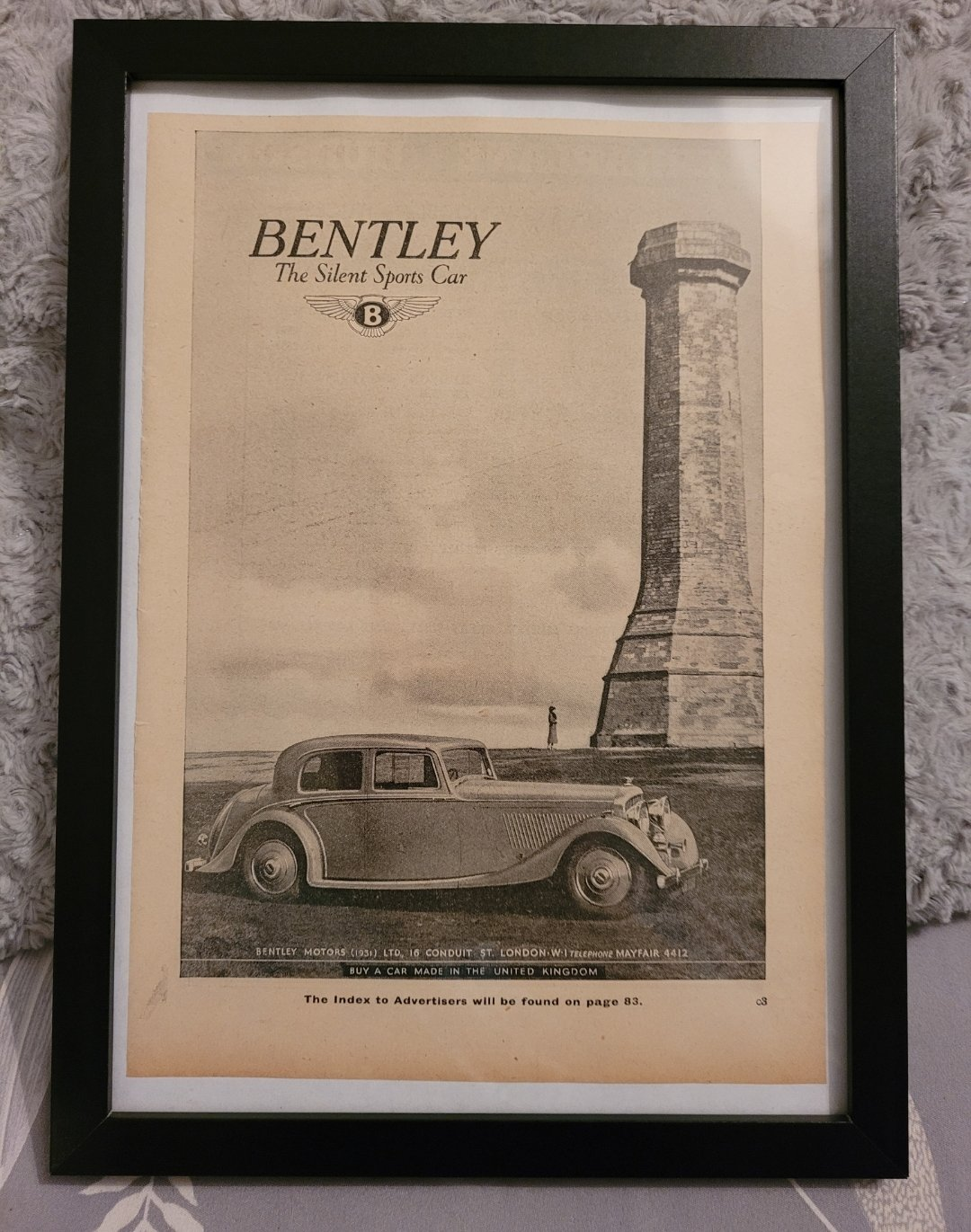 Original 1936 Bentley 4 1/4 Ltr Framed Advert