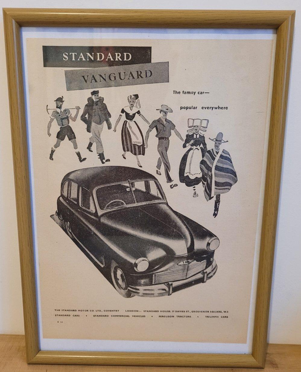 Original 1949 Standard Vanguard Framed Advert