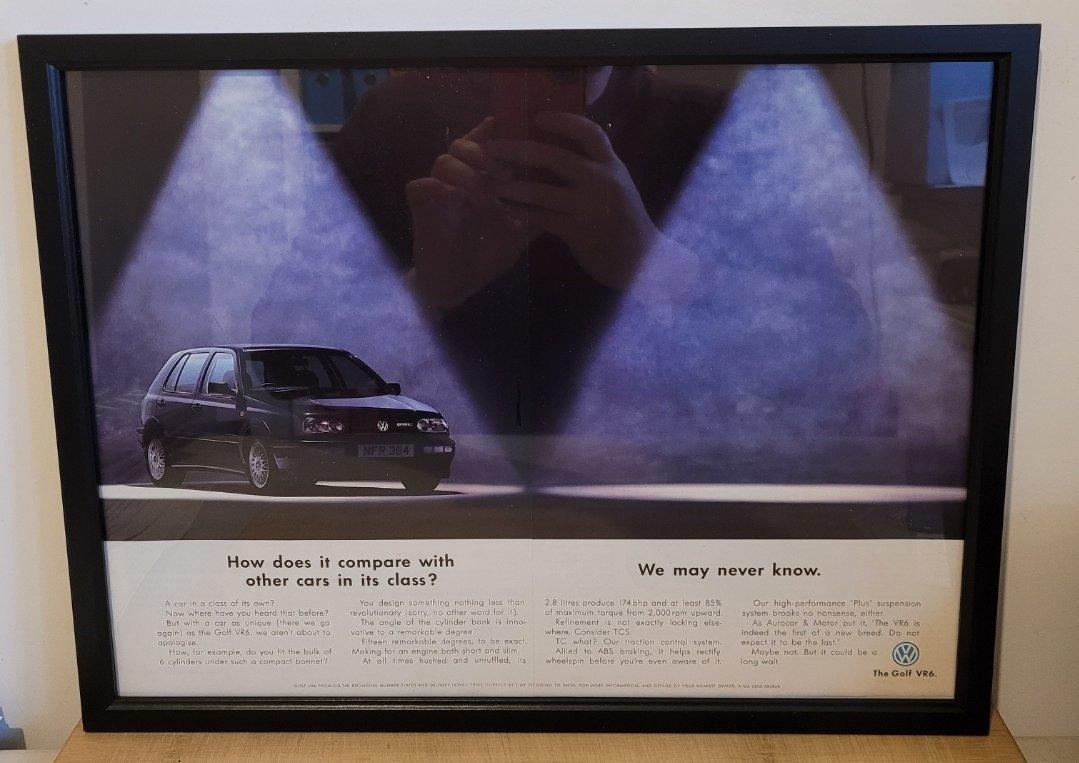 Picture of 1990 Original 1993 VW Golf VR6 Framed Advert