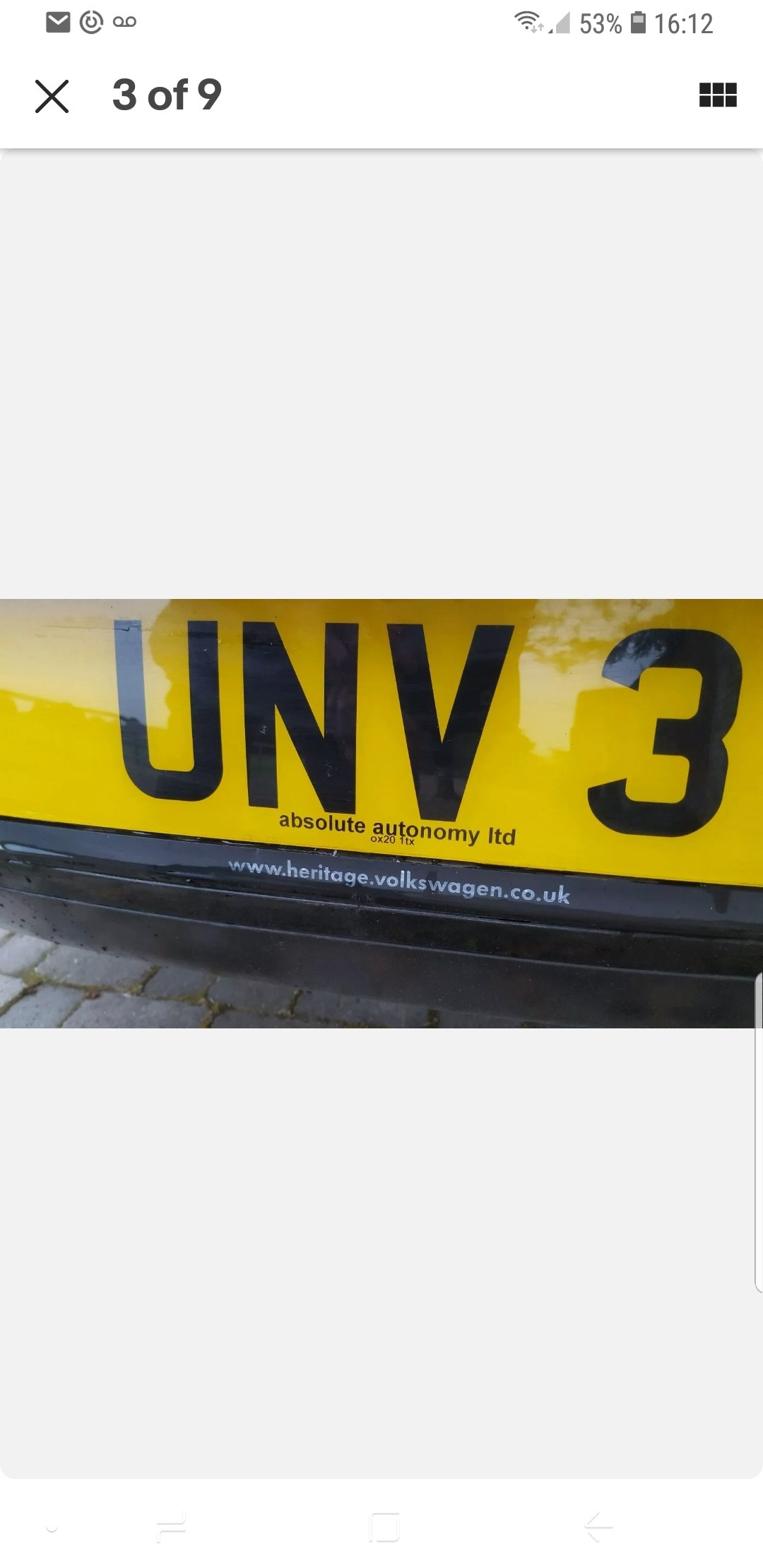 UNV 3 private plate UN V3 on retention Certificate