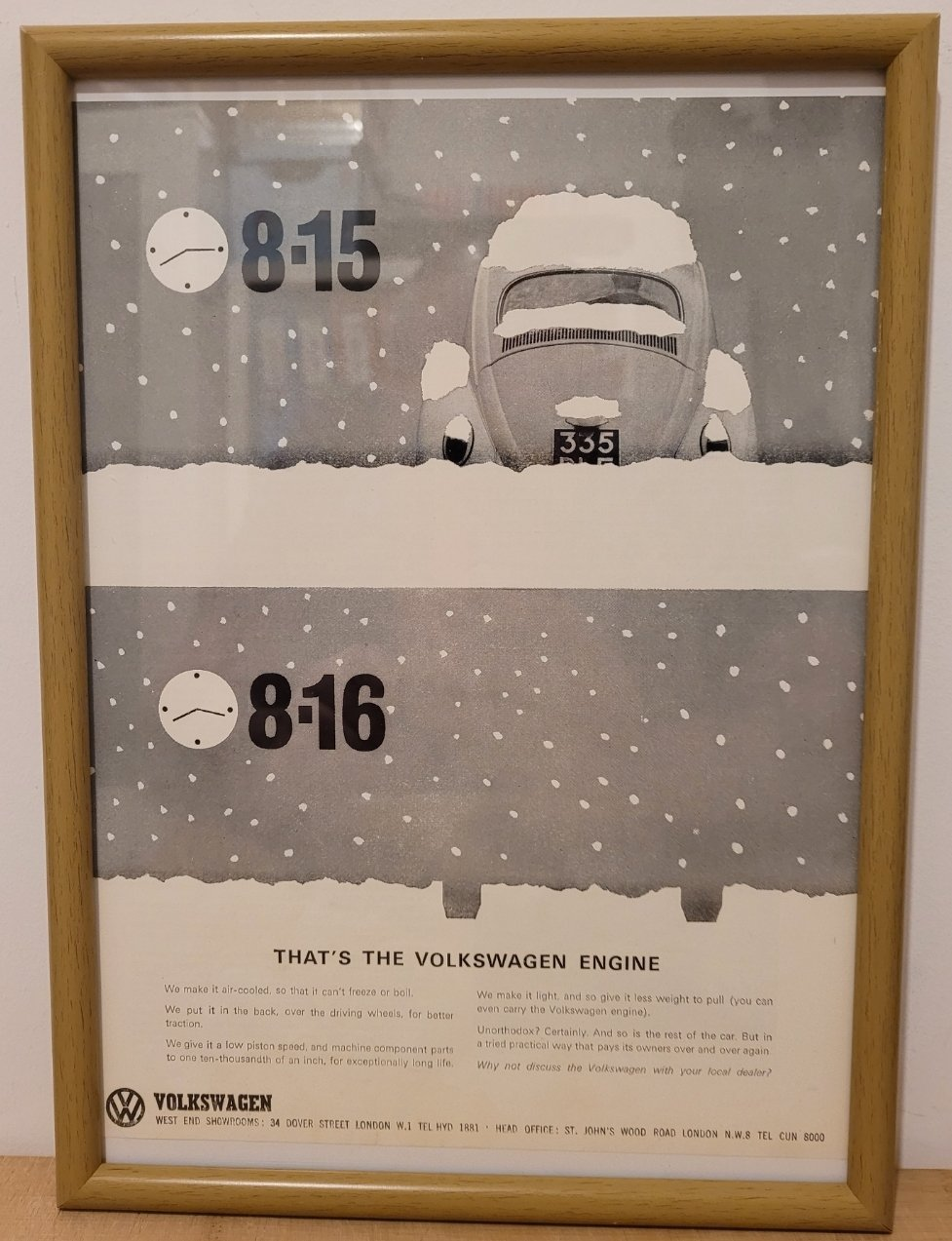 Original 1964 Volkswagen Beetle Framed Advert