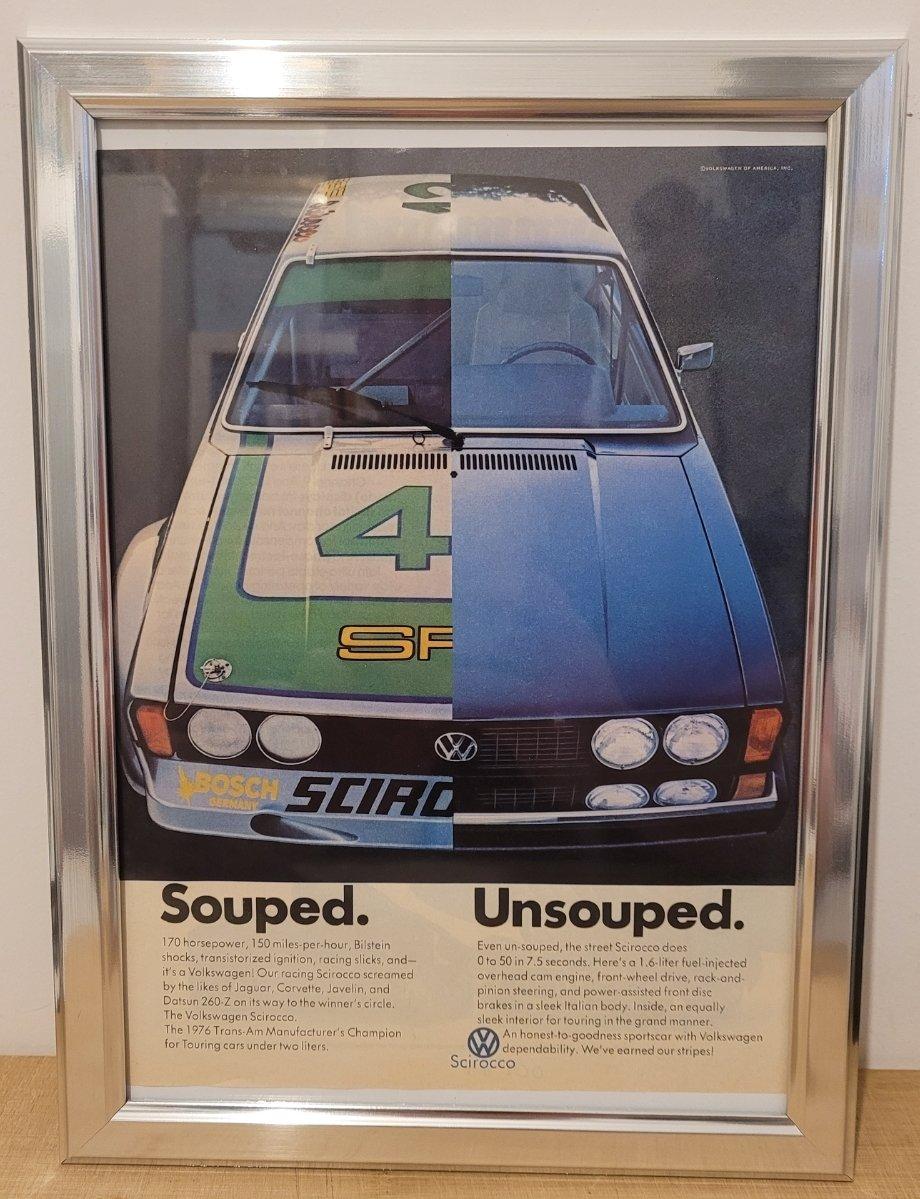 Original 1977 Volkswagen Scirocco Framed Advert