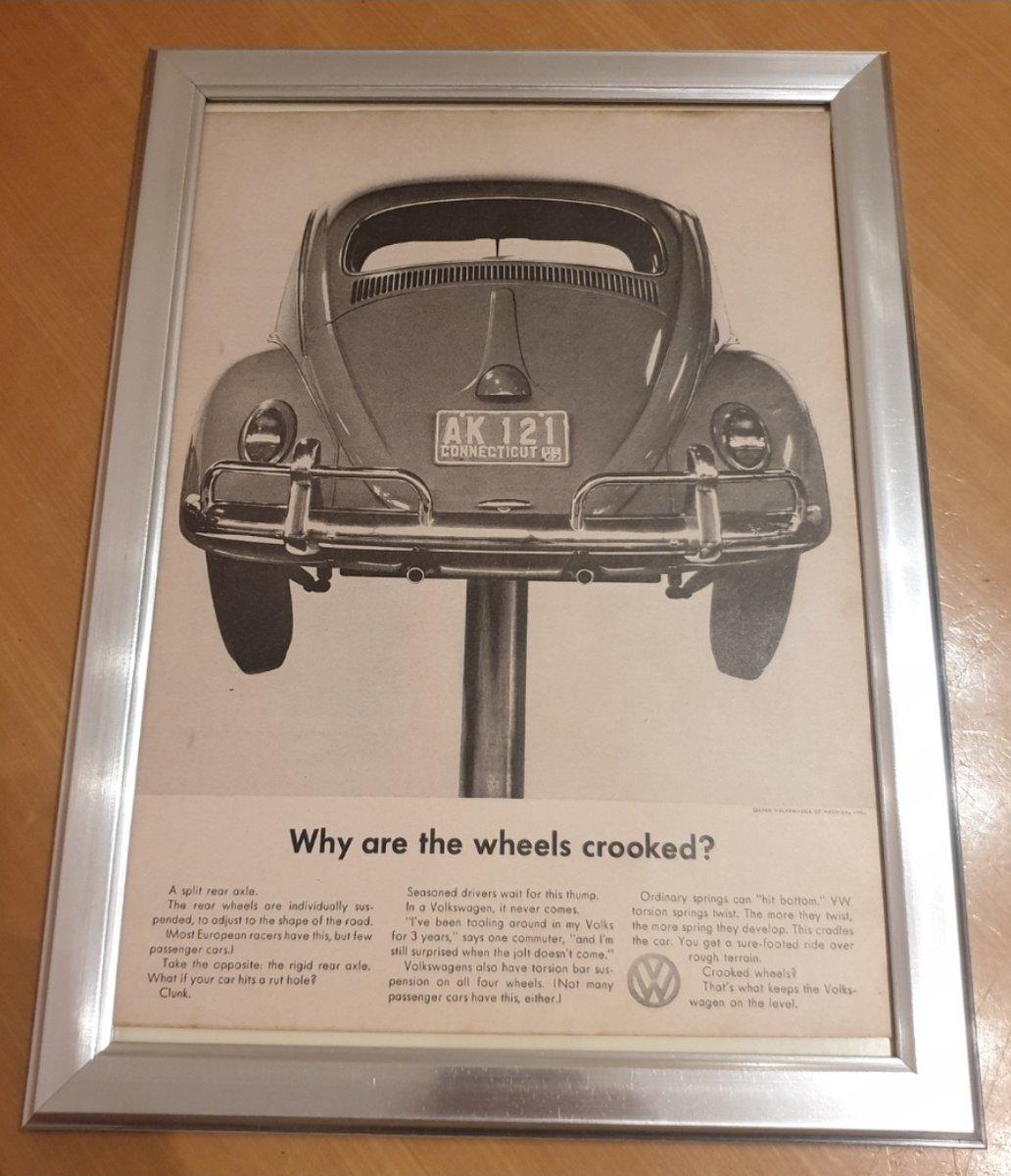 1960 Original 1962 VW Beetle Framed Advert For Sale (picture 1 of 3)