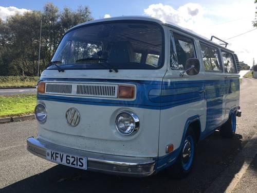 1978 VW Landmark Bay White/Blue stripes 2.0l engine For Sale (picture 1 of 6)