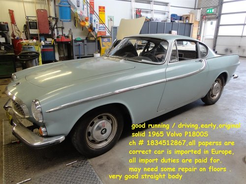 Nice blue 1965 Volvo P1800 S coupé for sale For Sale (picture 1 of 6)