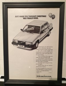 1988 Volvo 740 Framed Advert Original