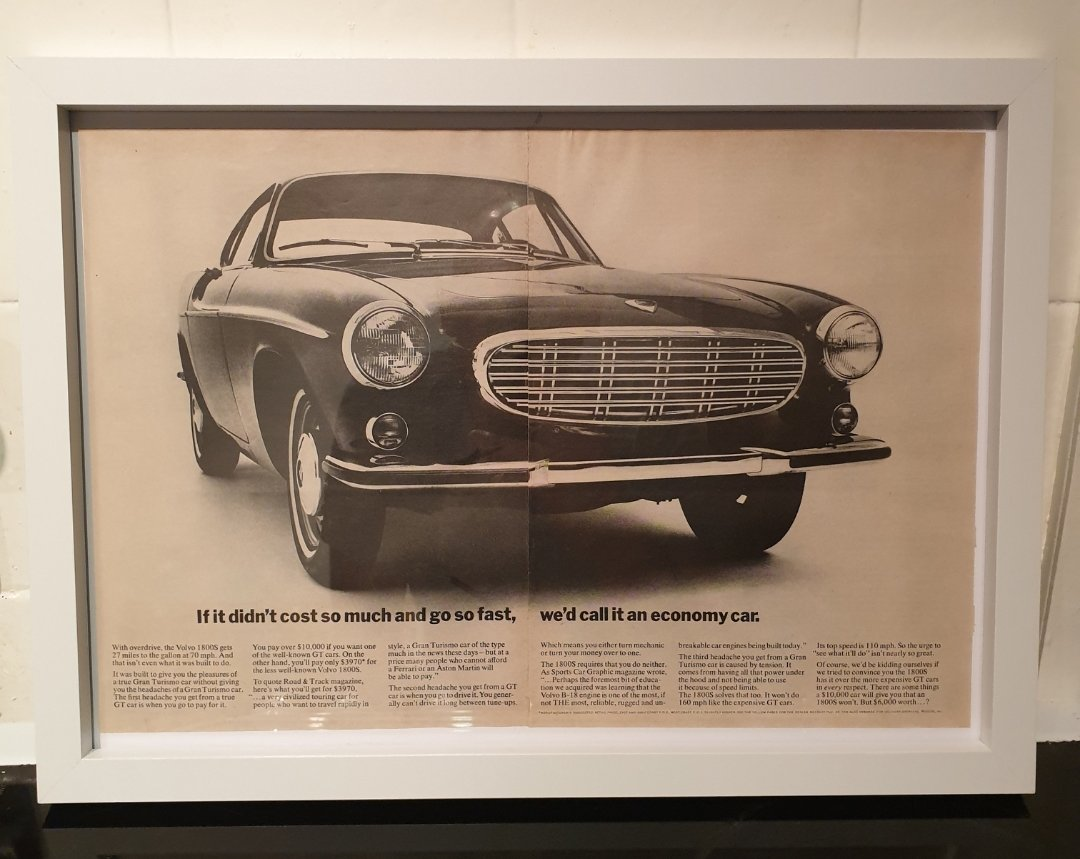 1967 Original Volvo 1800S Framed Advert For Sale (picture 1 of 2)