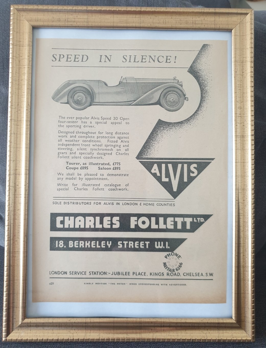 1988 Original 1934 Alvis Framed Advert For Sale (picture 1 of 3)