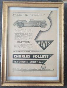 Picture of 1988 Original 1934 Alvis Framed Advert