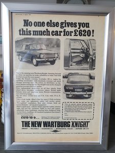 1967 Wartburg Knight Advert Original