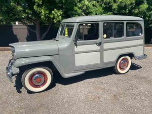 1951 Willys Wagon = clean solid Grey(~)Red driver  $24.9k For Sale