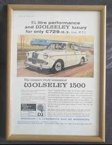 1962 Wolseley 1500 Framed Advert Original