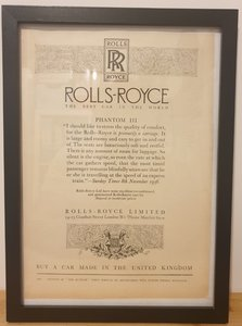 Original 1937 Rolls-Royce Framed Advert
