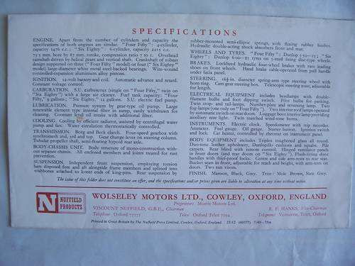 1948 WOLSELEY 6/80 & 4/50 SALES LEAFLET For Sale (picture 2 of 4)