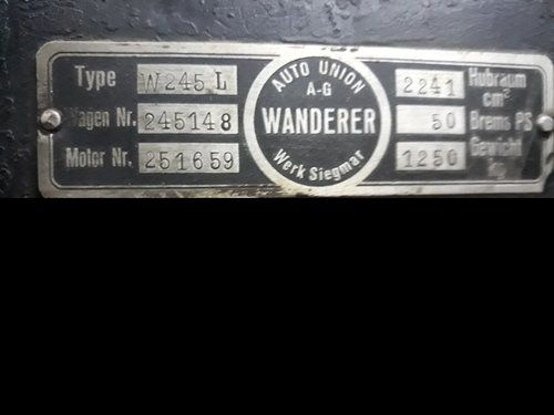 1935 Wanderer Auto Union W245L - 6 cylinder - 2.241cc. For Sale (picture 6 of 6)