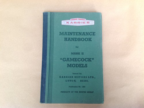 Karrier Gamecock MK 2 Handbook Inc T3 Engine  For Sale (picture 1 of 4)