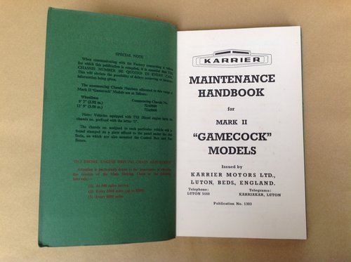 Karrier Gamecock MK 2 Handbook Inc T3 Engine  For Sale (picture 2 of 4)