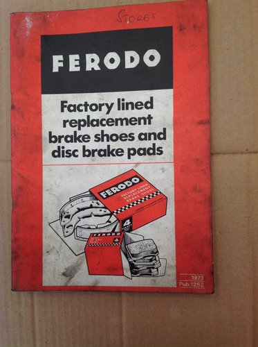 Ferodo Brakes Shoes & Pads Book 1973  For Sale (picture 1 of 2)