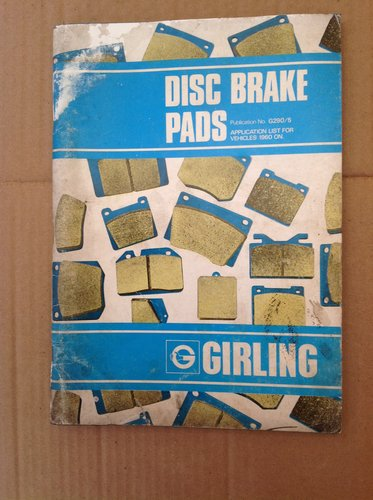 Girling Brake Pads Book 1960 On G290/5 with Diagrams  For Sale (picture 1 of 3)