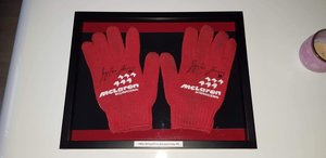1990 McLaren pit crew gloves signed by Ayrton Senn For Sale