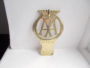 1924   AA  FLAT BRASS CAR BADGE  For Sale