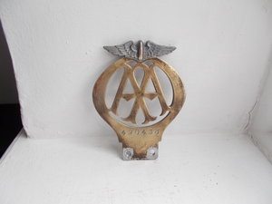 1934 vintage AA chrome on brass car badge flat early  For Sale