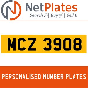 MCZ 3908 PERSONALISED PRIVATE CHERISHED DVLA NUMBER PLATE
