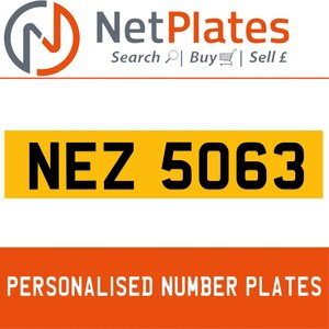 NEZ 5063 PERSONALISED PRIVATE CHERISHED DVLA NUMBER PLATE For Sale