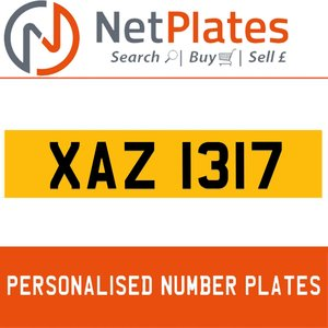 XAZ 1317 PERSONALISED PRIVATE CHERISHED DVLA NUMBER PLATE For Sale