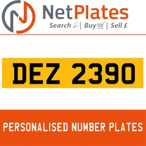 DEZ 2390 PERSONALISED PRIVATE CHERISHED DVLA NUMBER PLATE For Sale