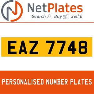 EAZ 7748 PERSONALISED PRIVATE CHERISHED DVLA NUMBER PLATE