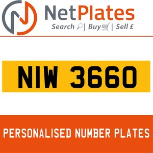 NIW 3660 PERSONALISED PRIVATE CHERISHED DVLA NUMBER PLATE For Sale