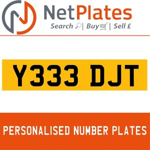 Y33 DJT PERSONALISED PRIVATE CHERISHED DVLA NUMBER PLATE For Sale
