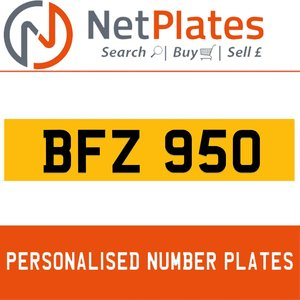 BFZ 950 PERSONALISED PRIVATE CHERISHED DVLA NUMBER PLATE