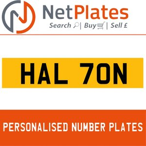 HAL 70N PERSONALISED PRIVATE CHERISHED DVLA NUMBER PLATE For Sale