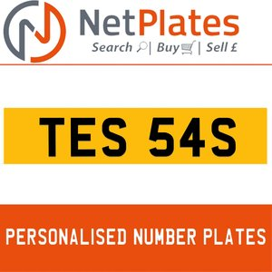 TES 54S PERSONALISED PRIVATE CHERISHED DVLA NUMBER PLATE For Sale