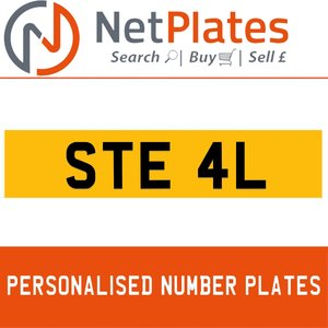 STE 4L PERSONALISED PRIVATE CHERISHED DVLA NUMBER PLATE For Sale