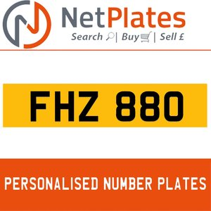 FHZ 880 PERSONALISED PRIVATE CHERISHED DVLA NUMBER PLATE For Sale