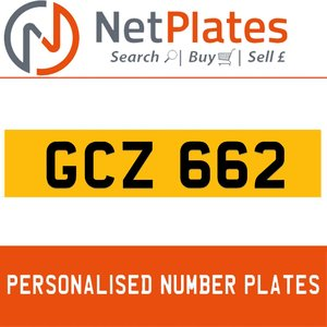 GCZ 662 PERSONALISED PRIVATE CHERISHED DVLA NUMBER PLATE